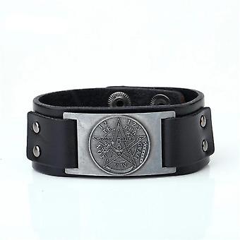 Pentacle Pentagram Leather Bracelet
