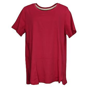 Isaac Mizrahi Live! Women's Top Plus Cotton Tunic Tulip Hem Red A307566