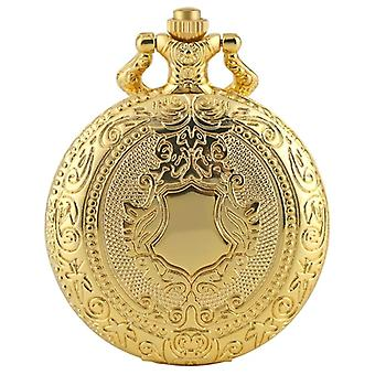 Royal Gold Shield Crown Pattern Quartz Pocket Watch Top Luxury Necklace Pendant
