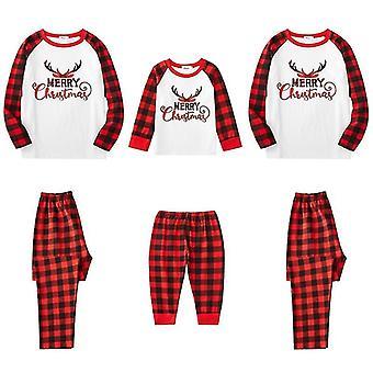 Christmas Family Pajamas Set, Vanhempien ja lasten puku, Puuvilla T-paita