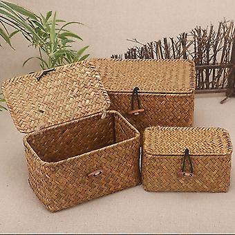 Eco friendly rattan weave sundries storage box with lid