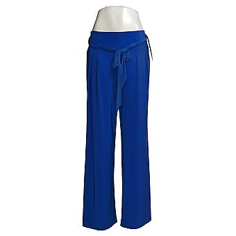 Nina Leonard Women's Pants Miracle Matte Wide Leg With Sash Blue 729874