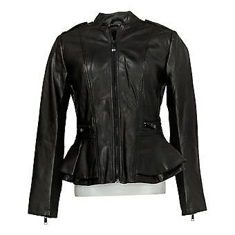 G.I.L.I. Got It Love It Women's Chaqueta Faux Leather Peplum Negro A310074