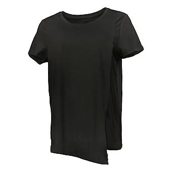 Cuddl Duds Kvinders Top Flexwear Asymmetrisk Tee Black A373764