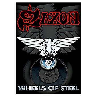 Saxon Poster Wheels of Steel Logo Official New Black Textile Flag 70cm x 106cm