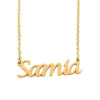 """L Samia - 18 karan kullattu kaulakoru, muokattavissa nimi, säädettävä ketju 16""""- 19"""