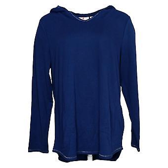 Quacker Factory Women's Top Pullover Tunic W/ Pockets Navy A346624