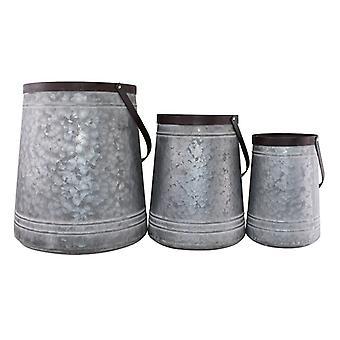Uppsättning av 3 skopa stil metallplanterare