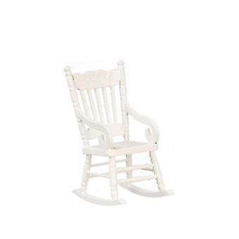 κουκλών σπίτι λευκή κουνιστή καρέκλα με υφασμένα καθίσματα μικροσκοπικό Rocker 1:12 Έπιπλα