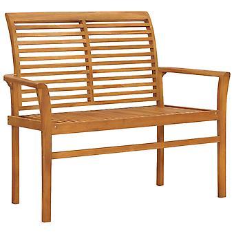 vidaXL Jardín Banco Gris Comprobar patrón almohadilla 112 cm Teca de madera maciza