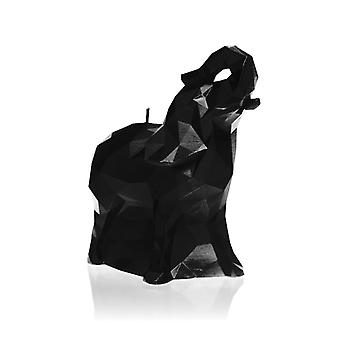 Black High Glossy Medium Elephant Candle