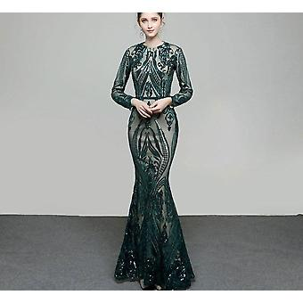 Long Sleeves Evening Dresses With Detachable Train Sequin Bling ( Set 1)