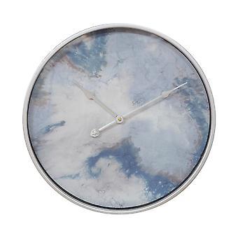 Silberne & blaue Metall-Wanduhr mit abstraktem Gesicht