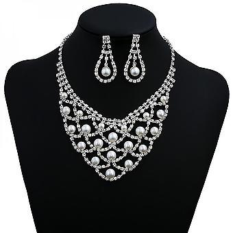 Ensemble nuptial pour perles avec collier de style strass de dentelle en cristal strass et boucles d'oreilles