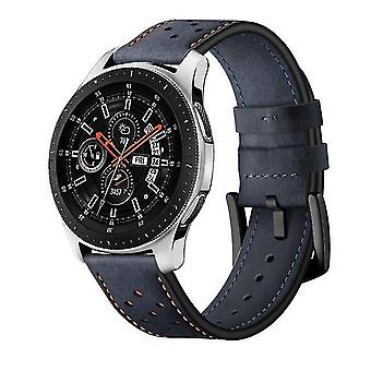 Leather sports strap with eyelets for Samsung Galaxy Watch Active 22 mm dark blue