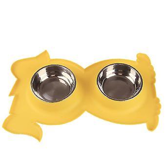 Ruostumaton teräs Double Pet Bowl KoiraKissa Twin Food Water Dish Ruokinta-asema (keltainen)