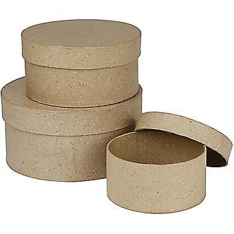 3 kierros pesiviä paperi Mache laatikot - suurin 14.5x7.5cm | Papier Mâche laatikot