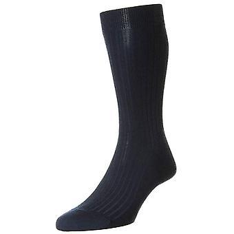 Pantherella gullregn Merino Ull Strumpor - Mörkblå