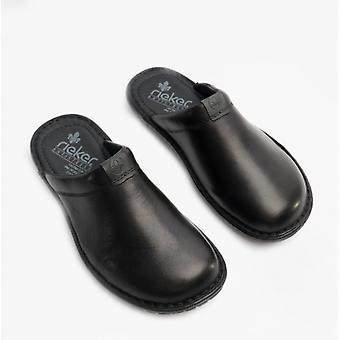 Rieker 26598 Mens Leather Mule Slippers Black