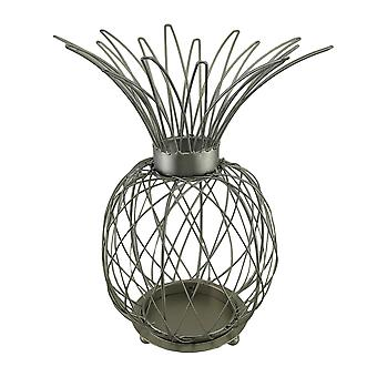 Satin Silver Finish Metal Wire Pineapple Shaped Candle Cage 15 in.