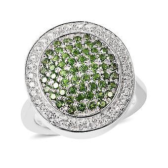 TJC Chrom Diopsid, Weißer Zirkon Hochzeitscluster Ring für Damen Silber 9.16ct(L)