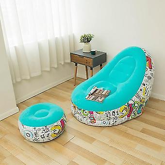 Aufblasbares Sofa im Freien aufblasbare Liege Faulen sofa mit Hocker Graffiti aufblasbares Sofa