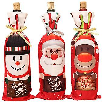 3 Stück Weihnachtsweinflasche Stopper Tasche, Weihnachtsmann Weintasche, Tischplatte Dekoration, Weihnachtsdekoration Wein Set