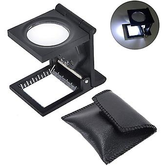 10 X 28mm Linen Test Three Folding Magnifying Glass Portable Zinc Alloy Magnifier (10x Lens) With Led Lamp For Textile Jewelry Collection Repair, Blac