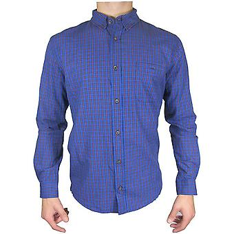 Red Herring manches longues bleu/rouge Mini Check Shirt TP492-Small