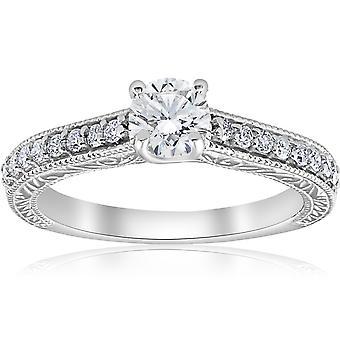 3/4 ct Vintage diamant engagemang handen etsade Ring 14K vitt guld