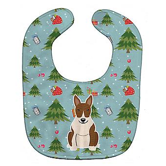 Carolines Treasures  BB4797BIB Christmas Bull Terrier Brindle Baby Bib