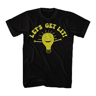 Humor Let's Get Lit Men's Black Funny T-shirt