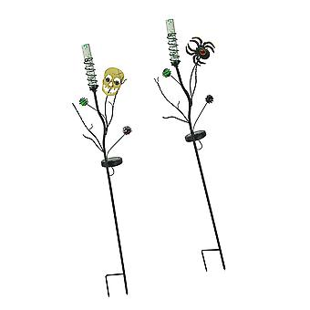 Set of 2 Solar Powered Halloween Skull and Spider LED Light Garden Stakes