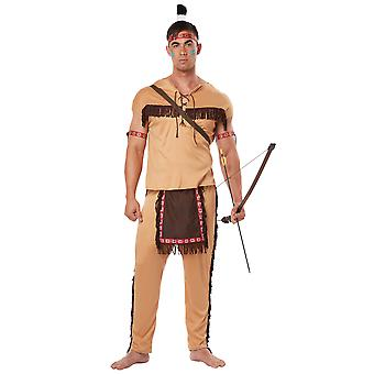 Native American Brave guerrier Noble Indien occidental Far West Mens Costume