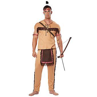 Native American dappere Indiase nobele krijger West Wild West Mens kostuum