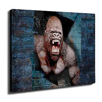 Monkey Monkey Animal Wall Art Canvas 40cm x 30cm | Wellcoda