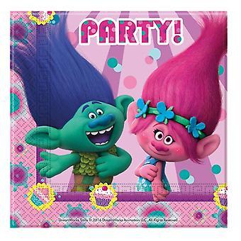 Serviettes of napkins trolls children party birthday 33x33cm 20 units