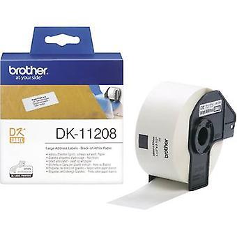 Brother DK-11208 etiketti roll 90 x 38 mm paperi valkoinen 400 PCs() pysyvä DK11208 osoitetarrat