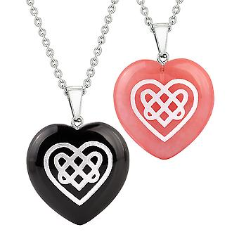 Hjertet amuletter keltiske Shiled knute magiske kjærlighet par beste venner agat simulert Quartz halskjede