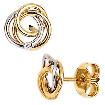 ترصيع 585 الذهب الذهب الأبيض الذهب الأصفر يجمع بين الماس 2 الرائعة أقراط الذهب