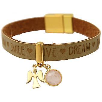 Brown - areia - Rosa - Rose Quartz - pulseira de ouro chapeado senhoras fecho magnético - proteção anjo..--desejos-