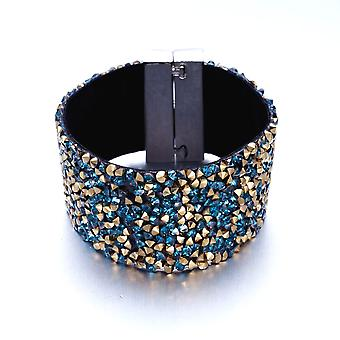 Cuff bracelet adorned with blue and gold Crystals of Swarovski and Black Velvet 3458