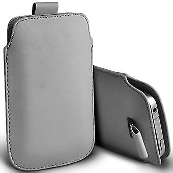 (Grey) Pull Tab Sleeve Faux Leather Pouch Case Cover For Wiko Fever 4G [ XXL ]