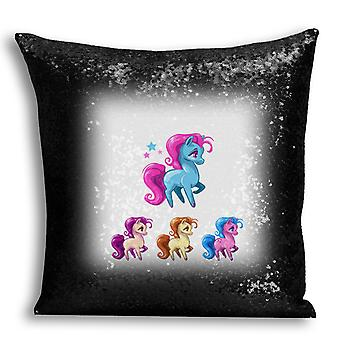 i-Tronixs - Unicorn Printed Design Black Sequin Cushion / Pillow Cover with Inserted Pillow for Home Decor - 11