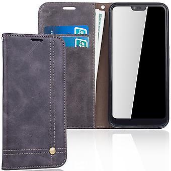 Mobiltelefon tilfelle for Huawei honor 10 cover lommebok tilfelle grå