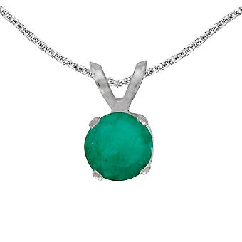 LXR 14k White Gold Round Emerald Pendant 0.33 ct