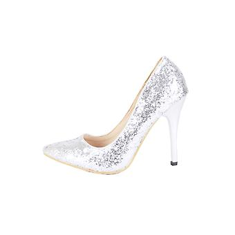 Lovemystyle All Over Silver Glitter Court Shoe Heels