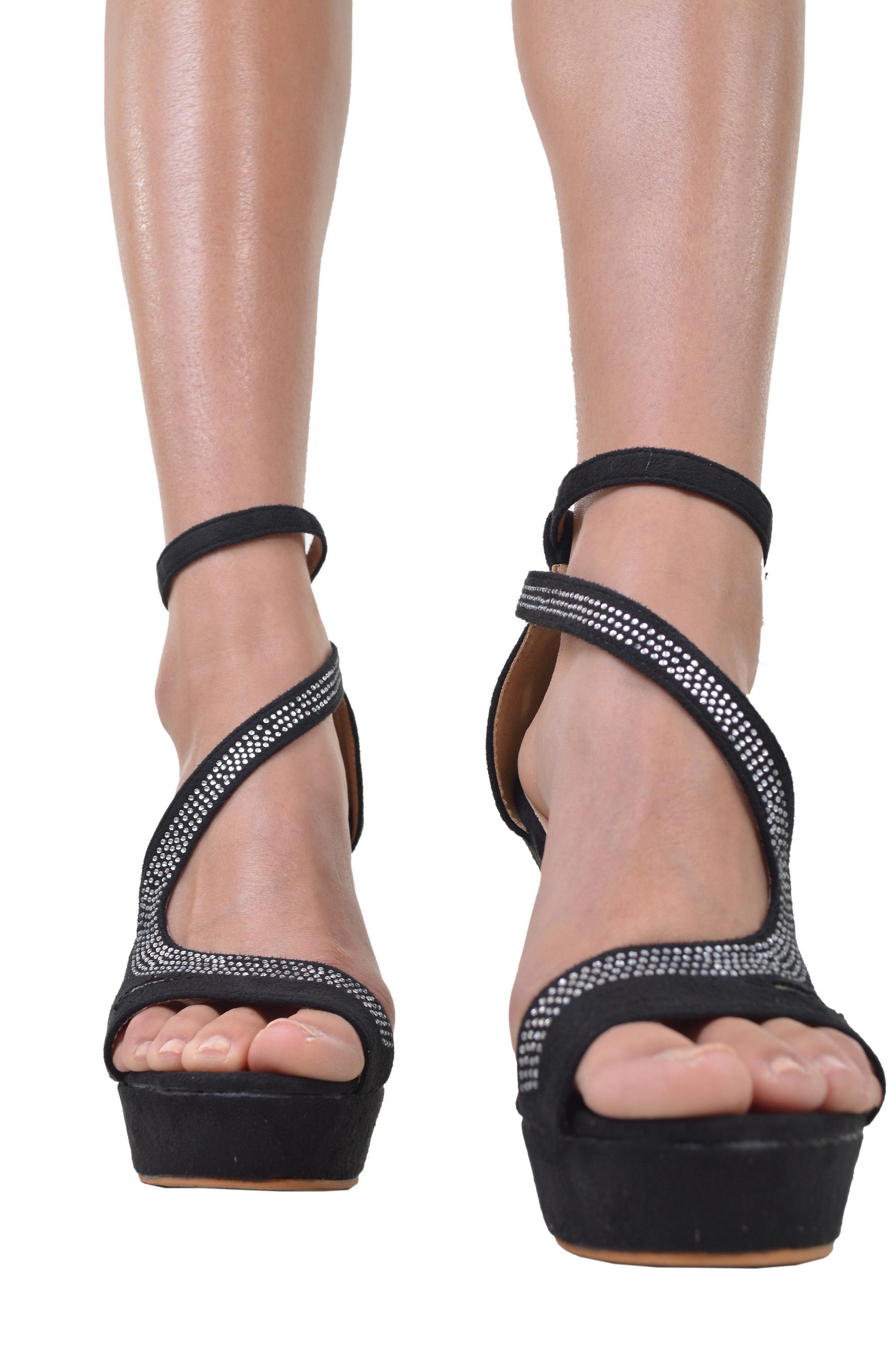 LMS Platform Heels With Diamante Embellished Strap In Black