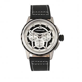 MORPHIC M61 serie Chronograph lederen-Band kijken w/Date-zilver/zwart