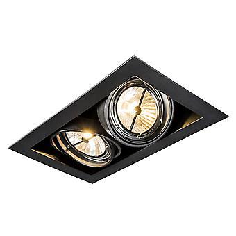 QAZQA Rectangle Recessed Spotlight Black - Oneon 111-2